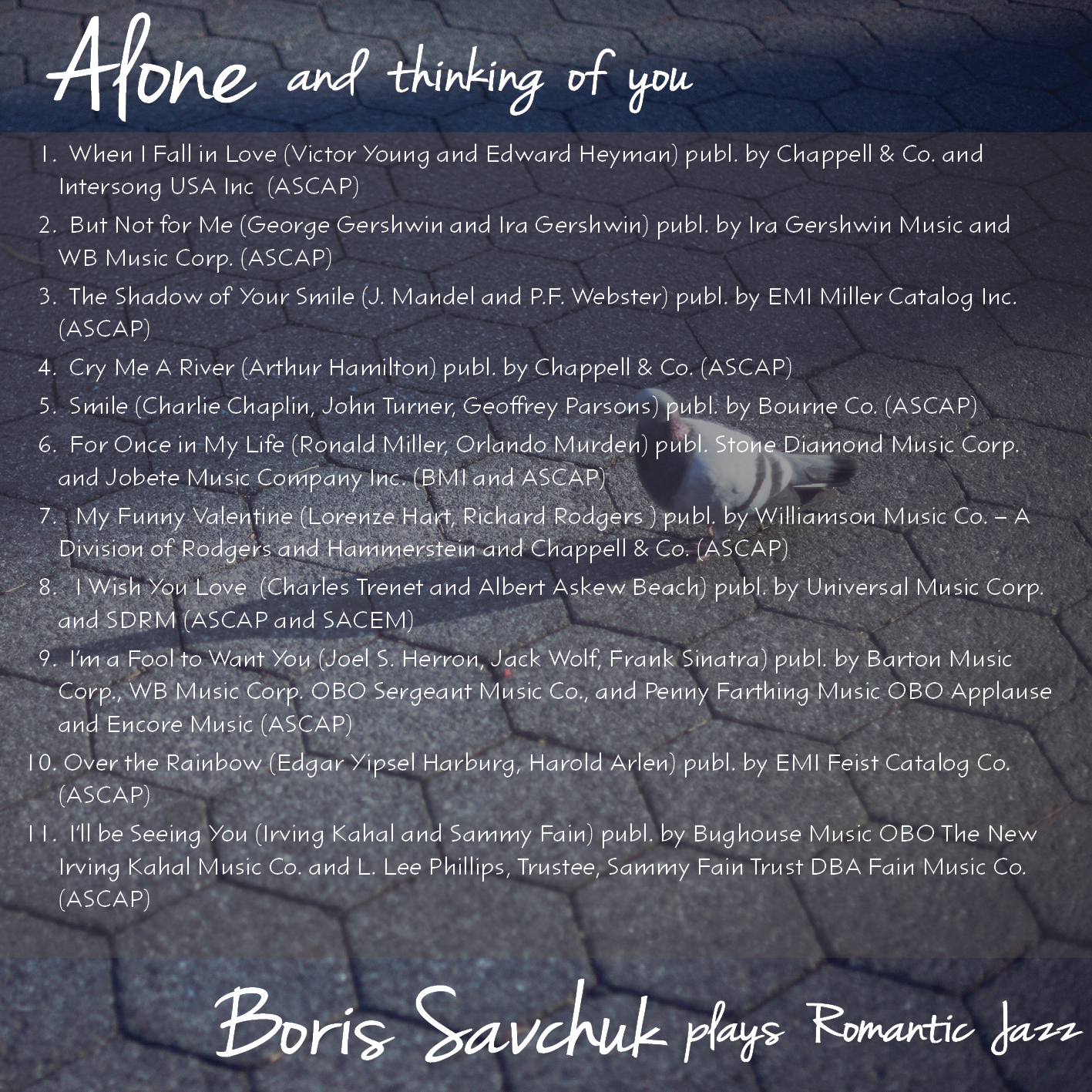 Alone and Thinking of you... Inside Cover